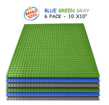 "Building Base Plates- Compatible Baseplates (6 pieces of 10"" x 10"") in Blue, Green and Gray, Works with Major Brick Building Sets, Wonderful Plate for Kids (Blue/Green/Gray)"