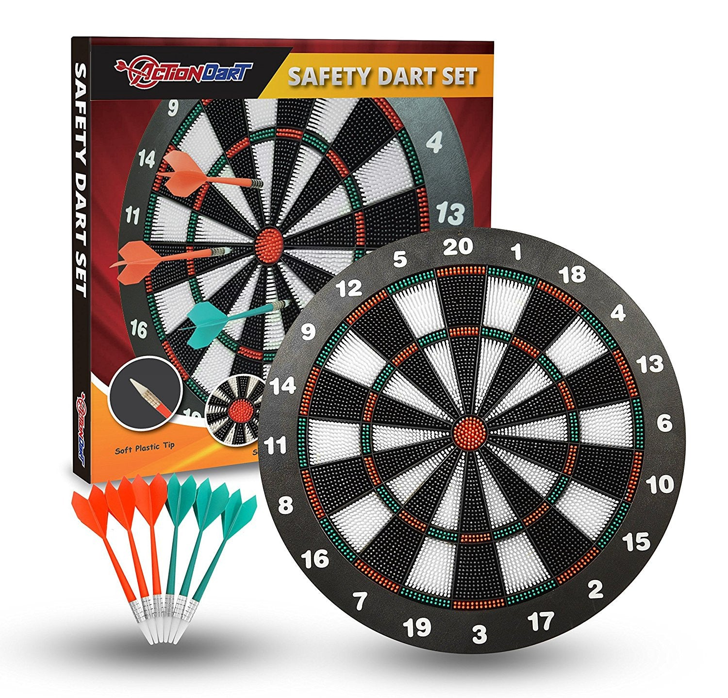 Awesome ActionDart   Soft Tip Safety Darts And Dart Board   Great Games For Kids    Leisure Sport For Office (Set)