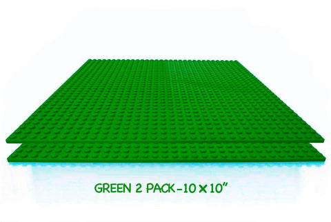 "Mako Toys Brick Building Baseplates (2 pieces of 10"" x 10""), Works with Major Brick Building Sets, Wonderful Plate for Kids (Green)"