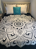 Queen Size Black & White Lotus Mandala