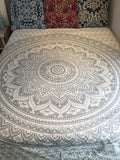 Queen Size Silver & White Metallic Mandala
