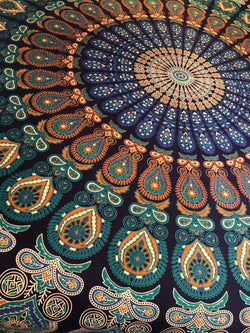 Queen Size Turquoise Hippie Mandala