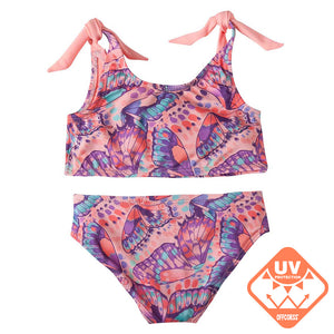 Toddler Girl Two Piece Swimsuits with Colored Prints