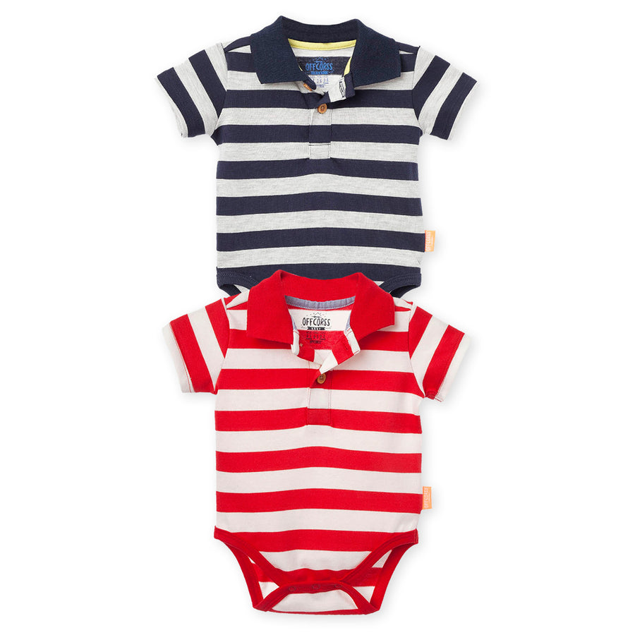 Polo Stripes Baby Boy Bodysuits Short Sleeve 2Pack
