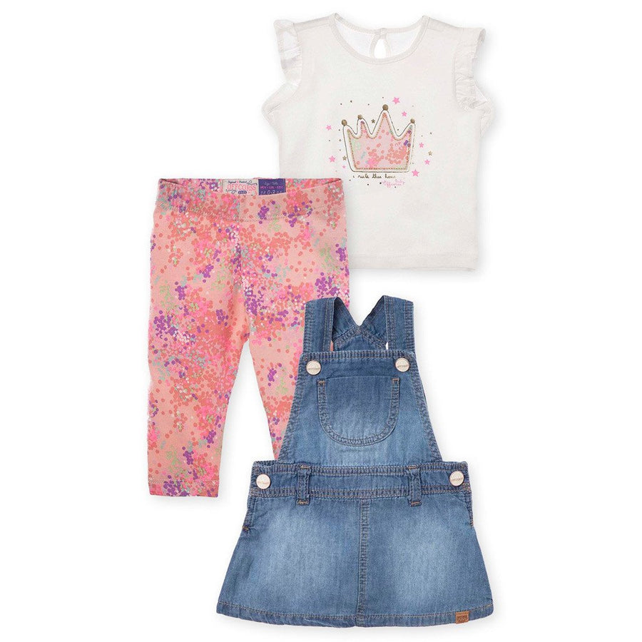 Skirtall Overall Leggings and Shirt 3 Piece Outfit Set