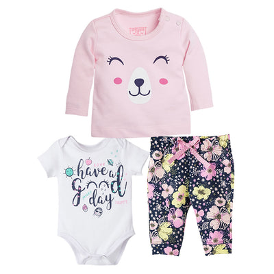 New Born Baby Girl Bodysuit Long Sleeve Shirt and Pants 3 Piece Set
