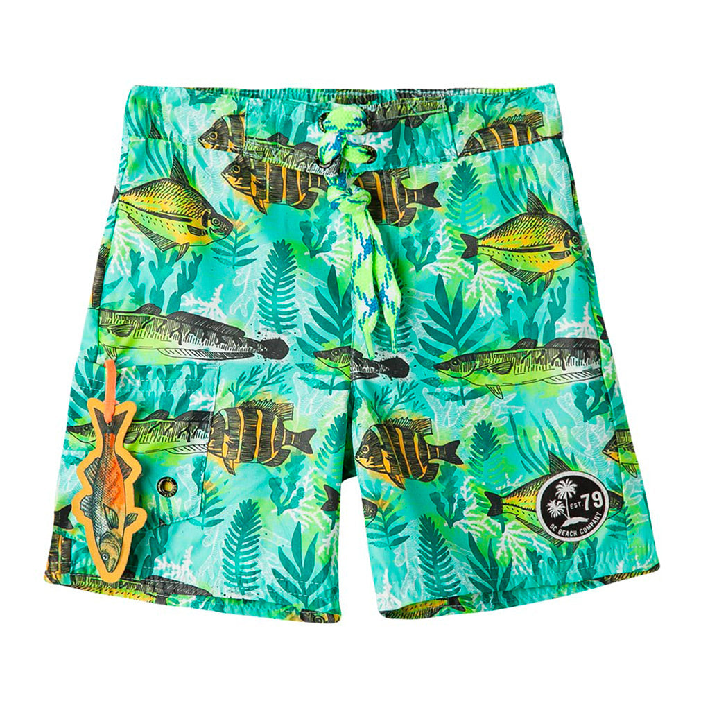 b0e1e29040 OFFCORSS | Fish Green Toddler Boy Swim Shorts