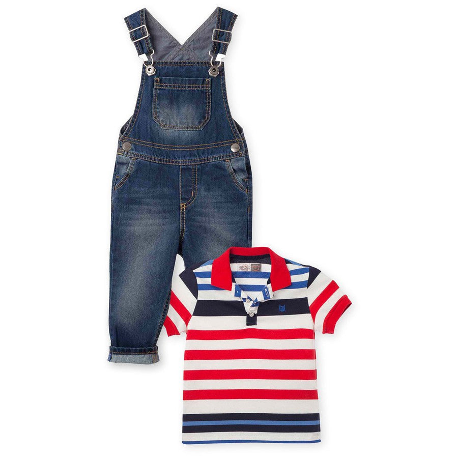Toddler Boy Striped Polo Shirt & Denim Overalls 2pc Outfits