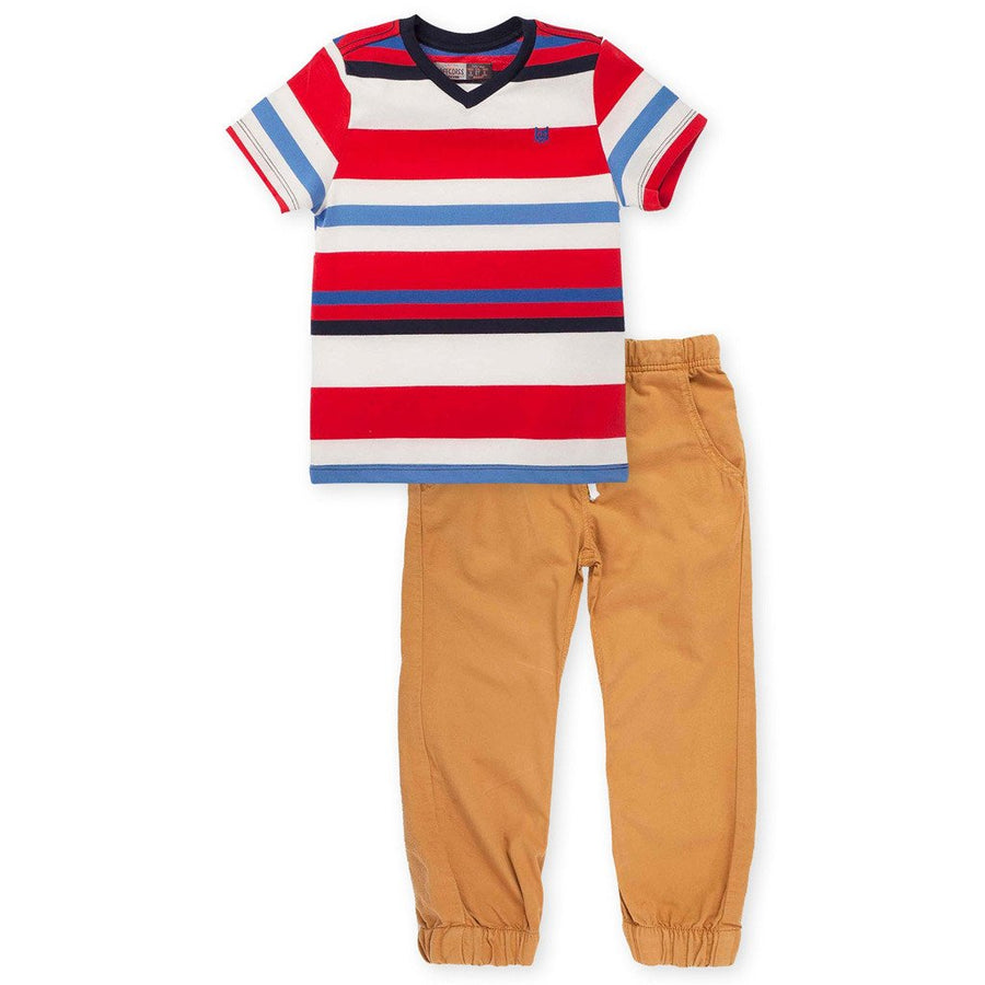 Toddler Boy Fashion Outfits V Neck Stripes T Shirt & Brown Pants