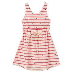 OFFCORSS Striped Girl Sleeveless Toddler Dress with Belt