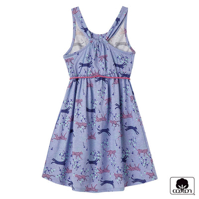 OFFCORSS Purple Girl Sleeveless Toddler Dress with Belt