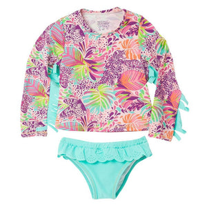 Toddler Girl Bathing Suits with Rash Guard