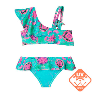 Toddler Girl Swimsuits with Flower Prints