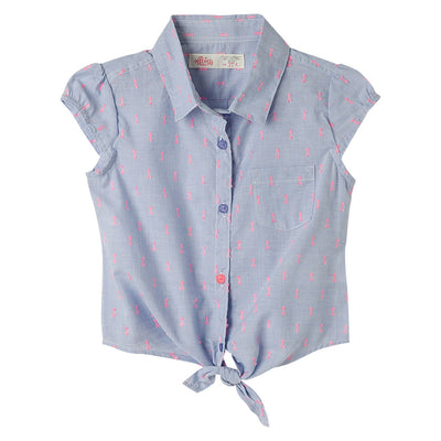 Short Sleeve Blouse Tie Front for Toddler Girl
