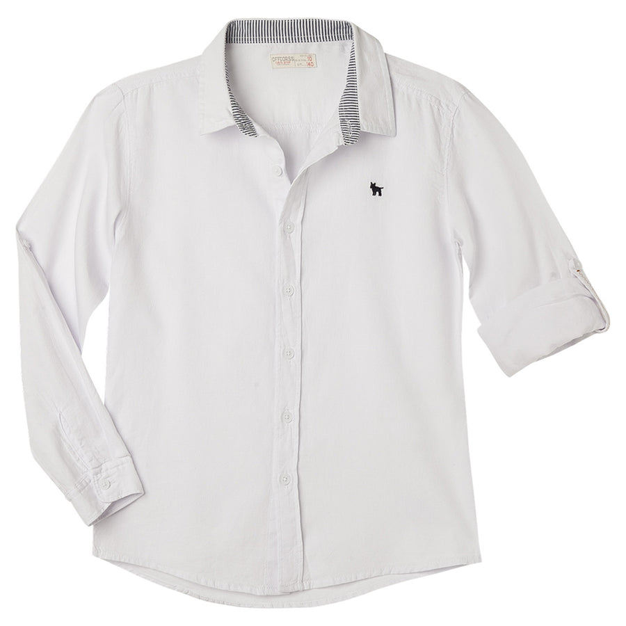 Long Sleeves Solid Colors Dressy Shirt Collared