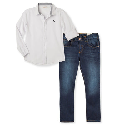 Long Sleeve Shirt Jeans Set for  Boys