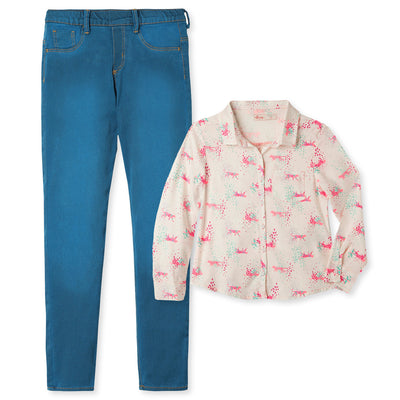 Long Sleeve Shirt Leggings Set For Girls