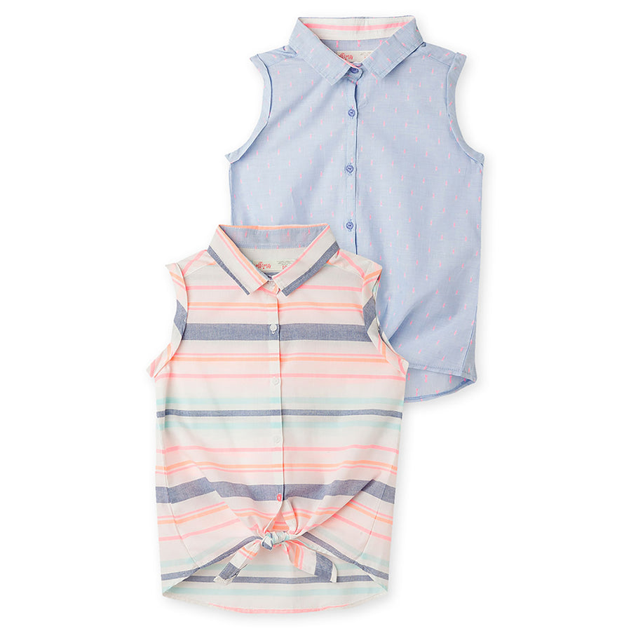 Girls Button Down Dress 2 Pack