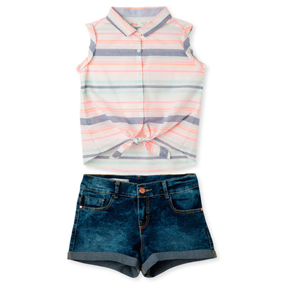 Shirt Without Sleeves Short Set For Girls