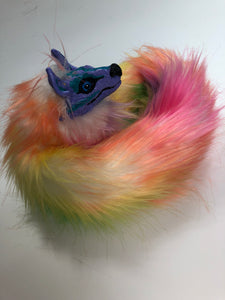 Rainbow Faux Fur Poseable Wolf