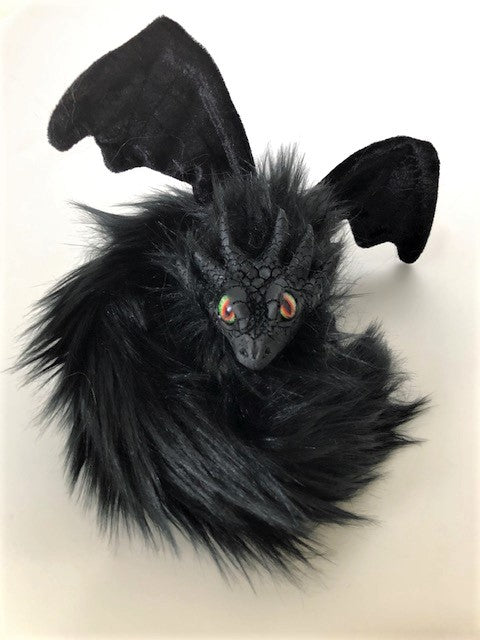 Black Fur Poseable Western Dragon