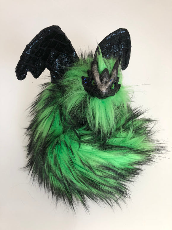 Fierce Green/Black Fur Poseable Western Dragon