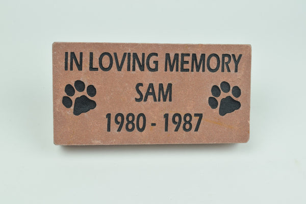 Pet Memorial Grave Marker Headstone Sandblast Deep Engraved  Red Stone  ILM 4x8    - GR2CH3052