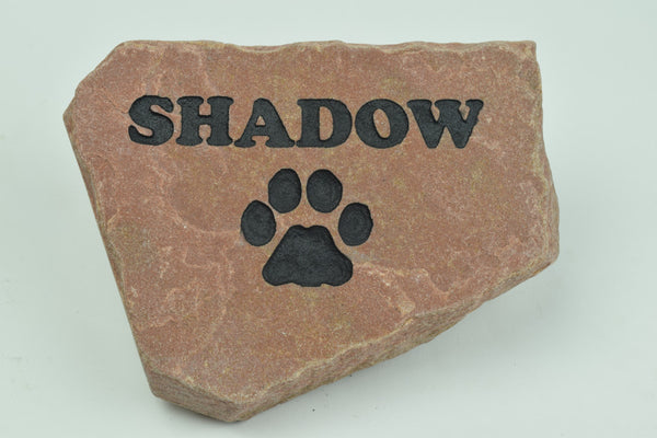 Natural Red Stone with Name and Paw - 6 Inches to 8 Inches