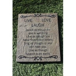 "Inspirational Garden Stepping Stone Sandblast Engraved Natural Stone 12"" x 10"" Decorative Inspirational Plaque ""Live Laugh Love"""