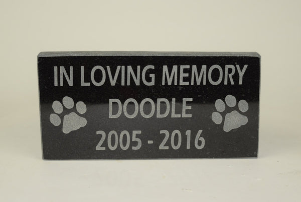 Granite Pet Memorial IN LOVING MEMORY with Name and Years 6 inches x 12 Inches
