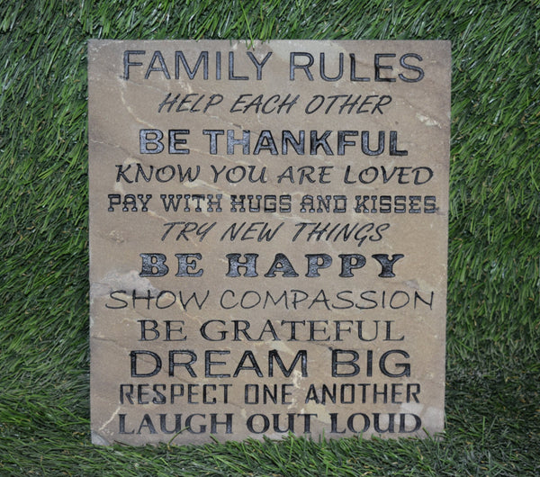 "Inspirational Garden Stepping Stone Engraved Natural Stone Decorative Wall Art ""Family Rules...Be Thankful"" 10"" x 12""    - GR3BF3012"