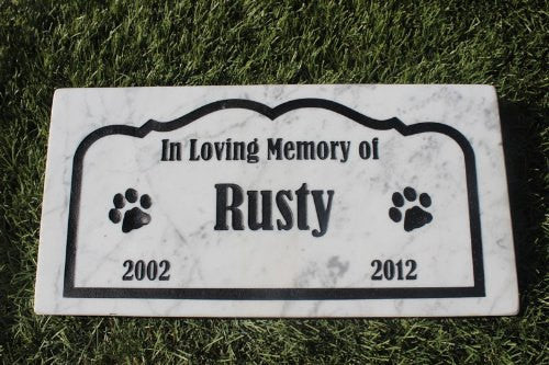 "Personalized Pet Memorial Headstone Grave Marker Sandblast Engraved Marble Garden Stepping Stone 6"" x 12""    GR2MJ3050"