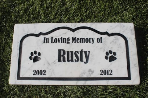 Dog Memorial Cat Memorial Pet Head Stone Grave Marker Engraved Natural Marble Dog or Cat In Loving memory - 6 Inches x 12 Inches - GR2MJ3050