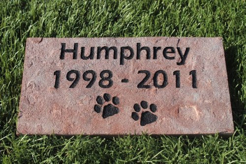 Red Stone Pet Memorial with Paws, Pet Name and Years  4 inches x 8 Inches