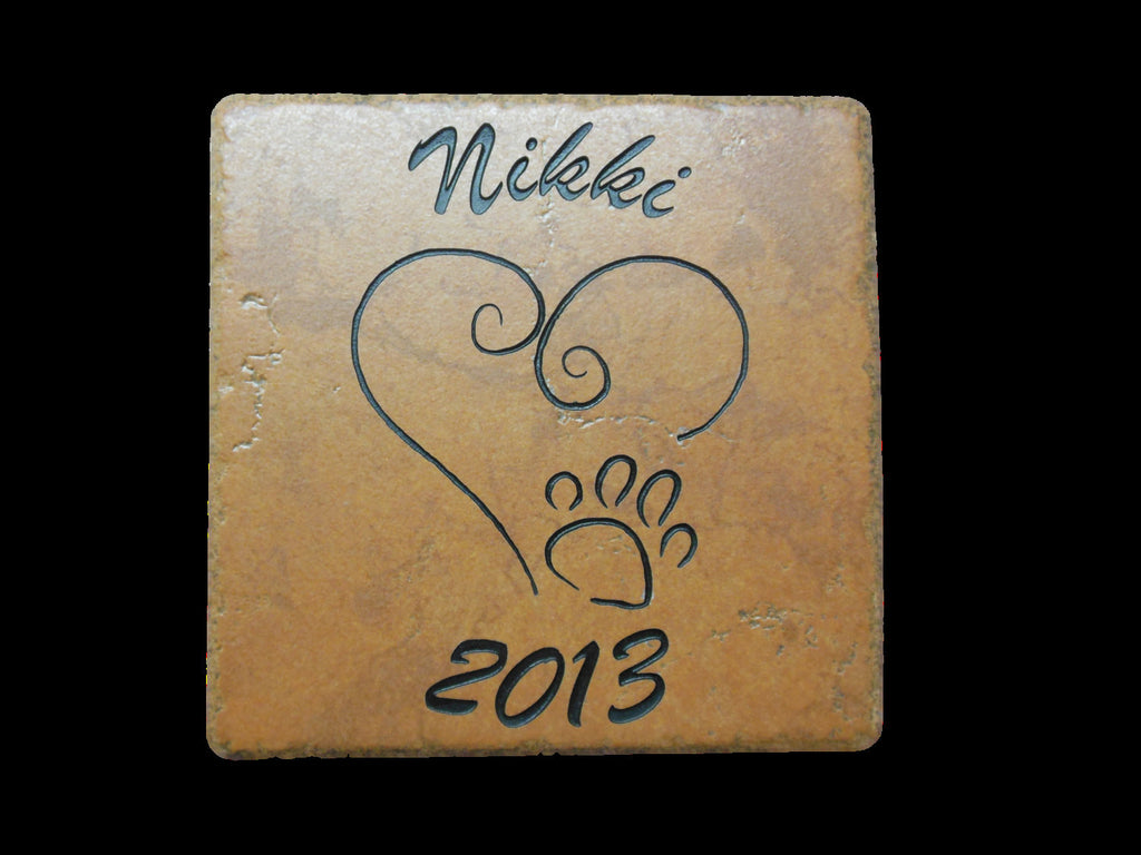 "Personalized Pet Memorial Grave Marker Headstone Sandblast Engraved Garden Tile Dog Cat HPD 6"" x 6""     -HUV4ZD3DHN"