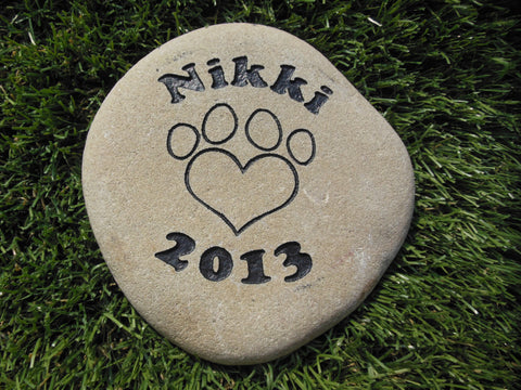 "Personalized Pet Memorial Sandblast Engraved River Rock Grave Marker Dog Cat Headstone HPD 6"" x 6"" Garden Stone    GR2RX3063"