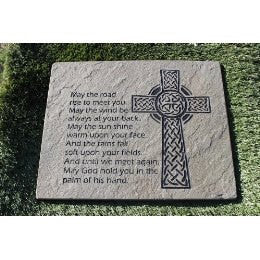 "Engraved Natural Stone Decorative Garden Stepping Stone Inspirational Irish Blessing with Cross 18"" x 12"""