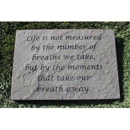 Engraved Natural Stone Decorative Stepping Stone Inspirational Moments 12x10x1in.