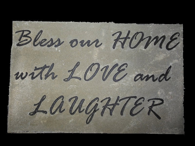 "Inspirational Garden Stone Indoor Decor Engraved Decorative Stone ""Bless Our Home With Love and Laughter"" 12"" x ""7"