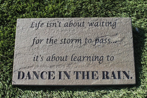 "Decorative Stepping Stone Sandblast Engraved Garden Decor Inspirational ""Dance In The Rain"" 12"" x 7""    GR3BE3021"