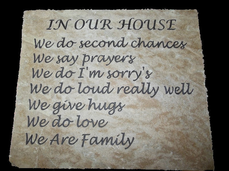 "Stepping Stone Garden Sandblast Engraved Natural Stone Decorative Inspirational In Our House 12"" x 10"""