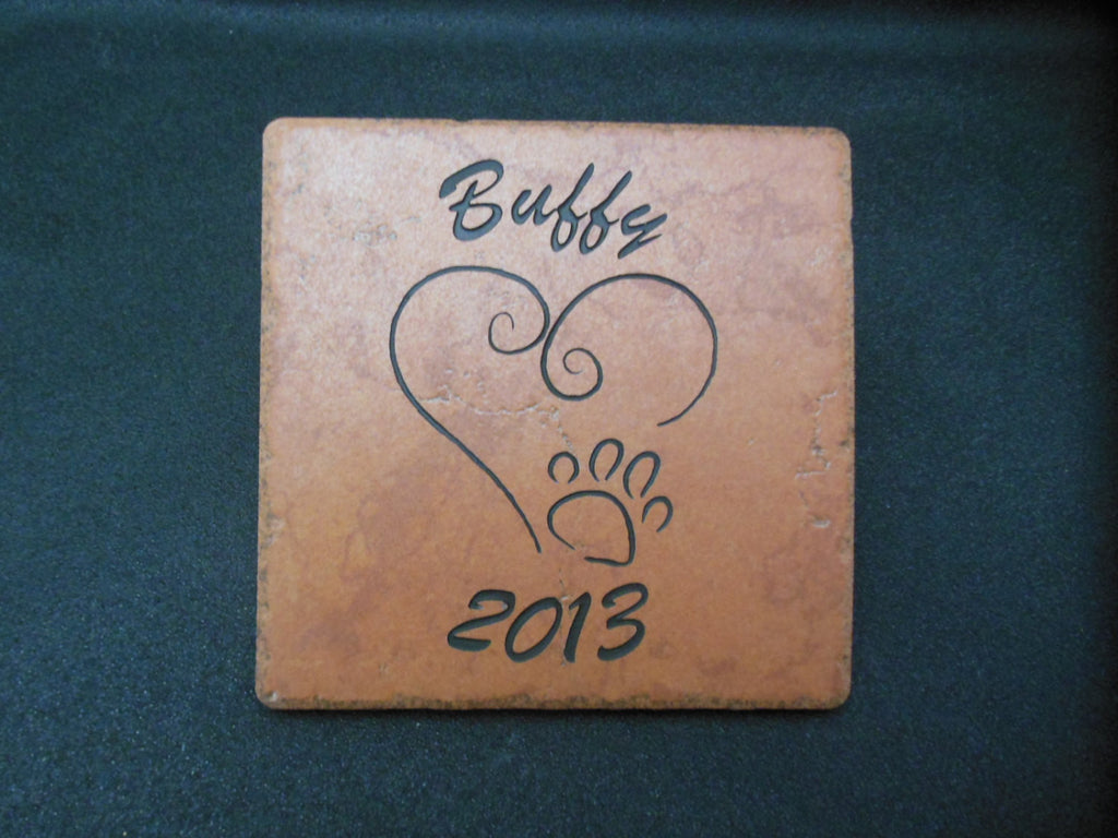 "Personalized Pet Memorial Grave Marker Sandblast Engraved 6"" x 6"" Tile Dog Cat NHD Garden Decoration     HUV4ZD3DHN"