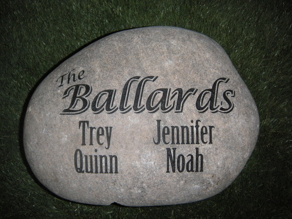 Family Stone Garden Sandblast -Engraved River Rock 10-12in.
