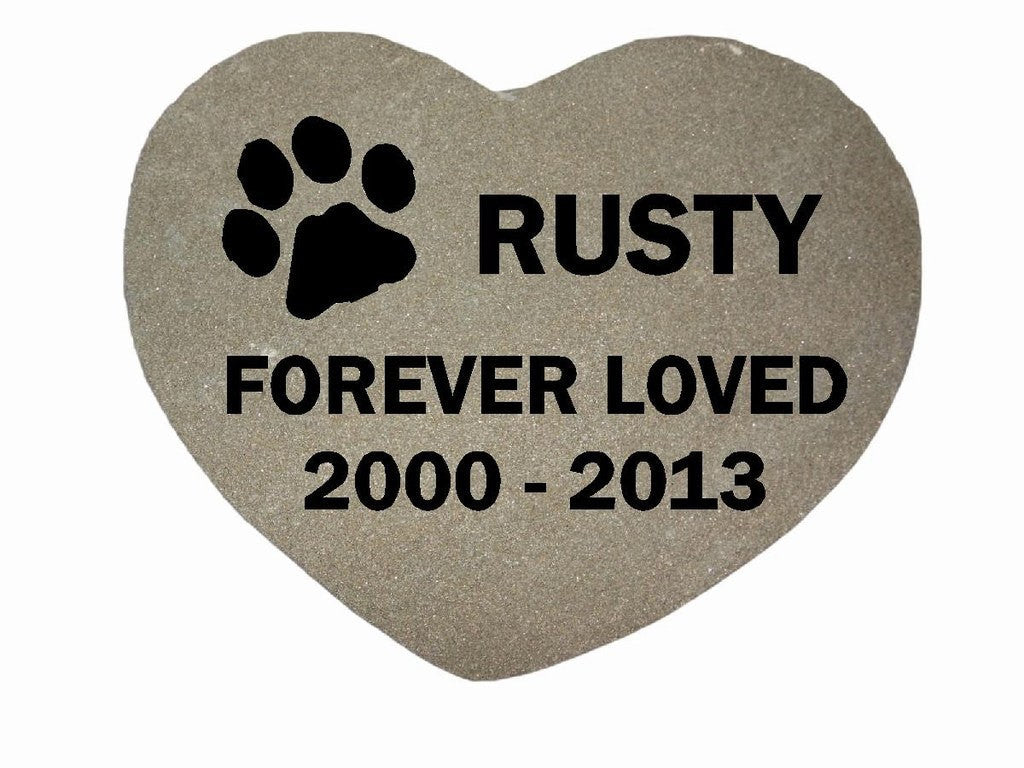 "Personalized Pet Memorial Grave Marker Sandblast Engraved  Gray Sawed Heart Garden Stone Forever Loved 8"" x 8""    GR3BCHSS5003"