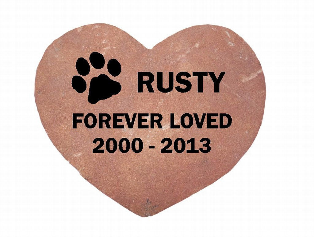 "Personalized Pet Memorial Grave Marker Sandblast Engraved Garden Stone Red Sawed Heart Forever Loved 8"" x 8""    GR3BCHCS5003"