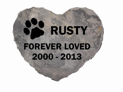 Dog Memorial Cat Memorial Pet Head Stone Grave Marker Engraved Natural Grey Stone Dog or Cat Name paw Date - 8 Inches x 8 Inches Heart Stone