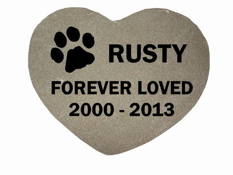 Dog Memorial Cat Memorial Pet Head Stone Grave Marker Engraved Natural Grey Stone Dog or Cat Name paw Date - 12 Inches x 12 Inches