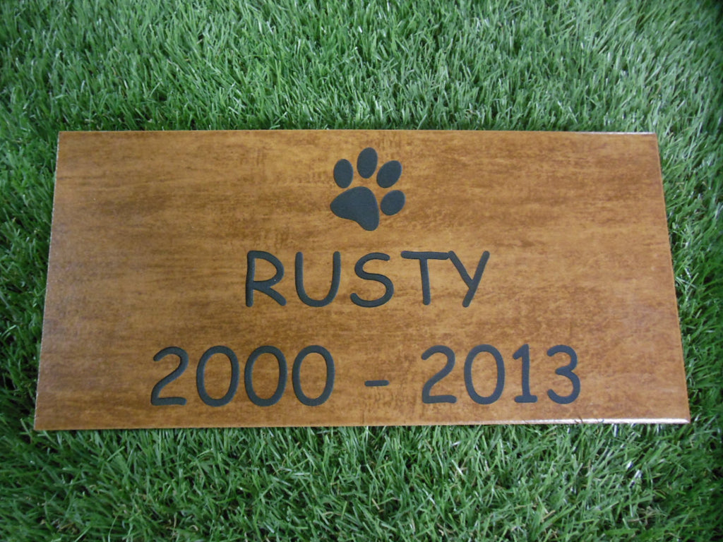 "Personalized Pet Memorial Grave Marker Headstone Faux Wood Tile Sandblast Engraved  6"" x 12"" Dog Cat NPD    NS"