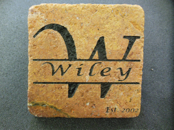 Personalized Stone Coaster Set of 4 Sandblast Engraved