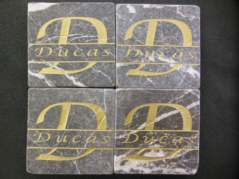 Personalized Coasters Set of 4 Sandblast Engraved Black Marble